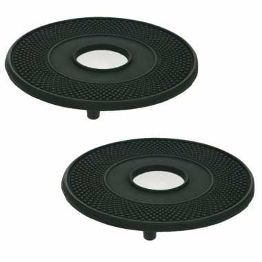 2x stuks gietijzeren ronde pannen/theepot onderzetters zwart 13 cm