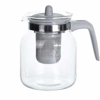 2x stuks glazen theepotten met grijs filter 1500 ml