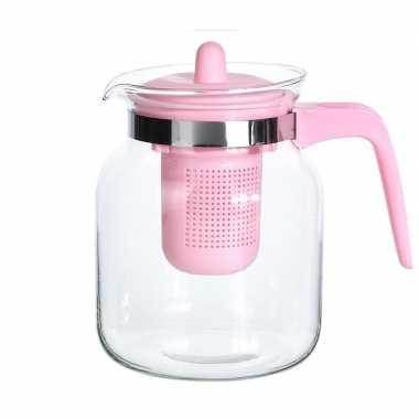 2x stuks glazen theepotten met roze filter 1500 ml