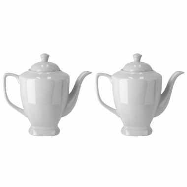 2x stuks koffiepotten/theepotten wit porselein 20 cm