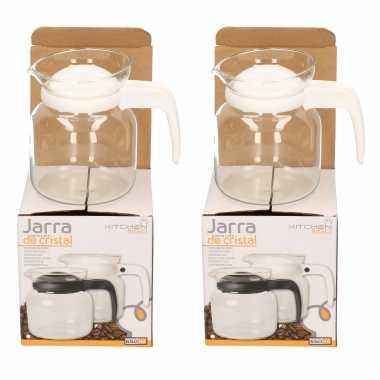 2x stuks theepot/koffiepot met witte deksel en handvat 0,65 liter