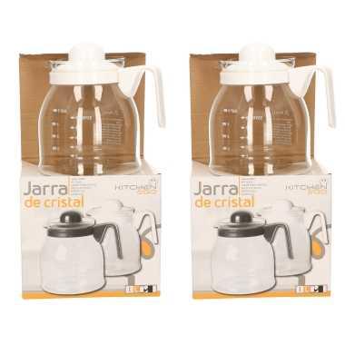 2x stuks theepot/koffiepot met witte deksel en handvat 1 liter
