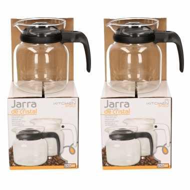 2x stuks theepot/koffiepot met zwarte deksel en handvat 0,65 liter