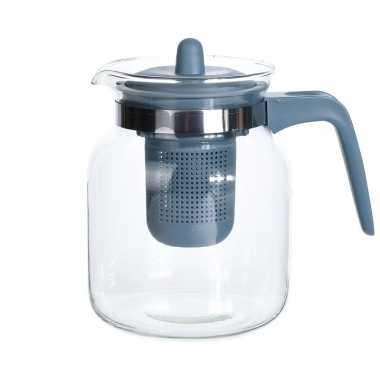 4x stuks glazen theepotten met blauw filter 1500 ml