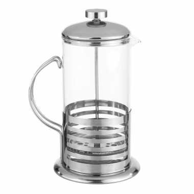 French press koffie/thee maker/cafetiere glas/rvs 1liter