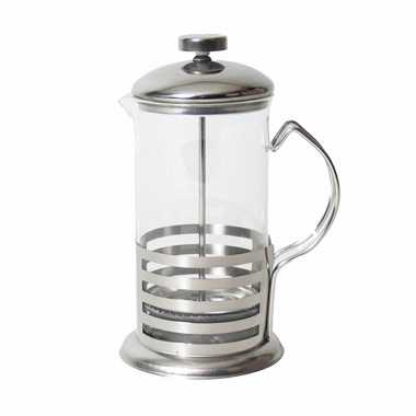 French press koffie/thee maker/cafetiere glas/rvs 350 ml