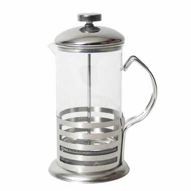 French press koffie/thee maker/ cafetiere glas/rvs 600 ml