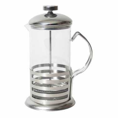 French press koffie/thee maker/ cafetiere glas/rvs 800 ml