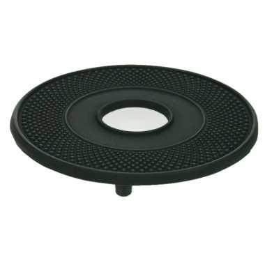 Gietijzeren ronde pannen/theepot onderzetter zwart 13 cm