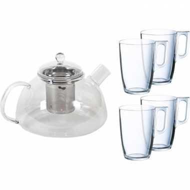 Glazen theepot 1 liter met filter/infuser en 4x theeglazen