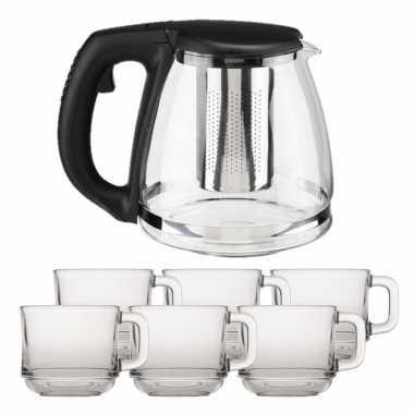 Glazen theepot met filter/infuser van 1,2 liter met 6x stuks theeglazen van 220 ml
