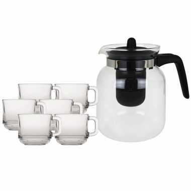 Glazen theepot met filter/infuser van 1,5 liter met 6x stuks theeglazen van 220 ml