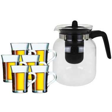 Glazen theepot met filter/infuser van 1,5 liter met 6x stuks theeglazen van 230 ml