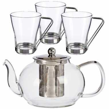 Glazen theepot met filter/infuser van 1100 ml met 3x stuks theeglazen van 240 ml