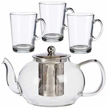 Glazen theepot met filter/infuser van 1100 ml met 6x stuks theeglazen van 285 ml