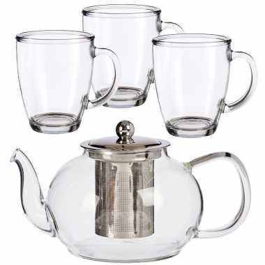 Glazen theepot met filter/infuser van 1100 ml met 6x stuks theeglazen van 320 ml