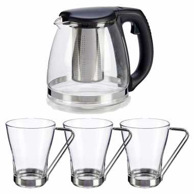 Glazen theepot met filter/infuser van 1200 ml met 3x stuks theeglazen van 240 ml