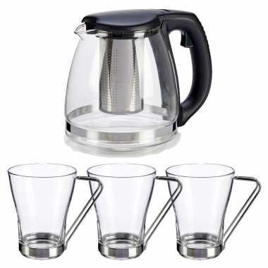 Glazen theepot met filter/infuser van 1200 ml met 6x stuks theeglazen van 240 ml