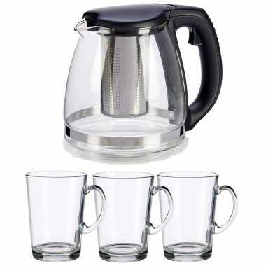 Glazen theepot met filter/infuser van 1200 ml met 6x stuks theeglazen van 250 ml