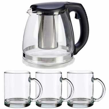 Glazen theepot met filter/infuser van 1200 ml met 6x stuks theeglazen van 285 ml