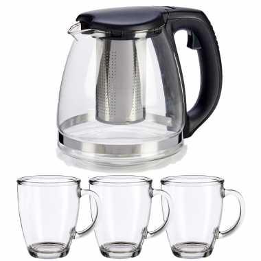 Glazen theepot met filter/infuser van 1200 ml met 6x stuks theeglazen van 320 ml