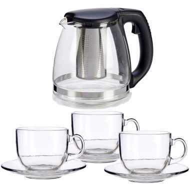 Glazen theepot met filter/infuser van 1200 ml met 6x stuks theeglazen van 450 ml