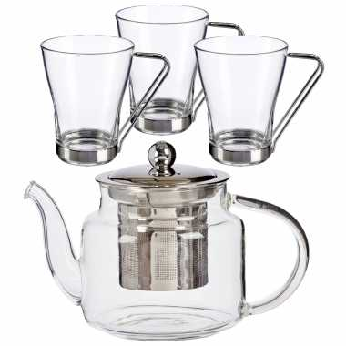 Glazen theepot met filter/infuser van 500 ml met 3x stuks theeglazen van 240 ml