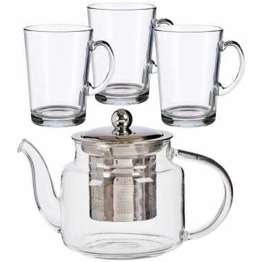 Glazen theepot met filter/infuser van 500 ml met 6x stuks theeglazen van 250 ml