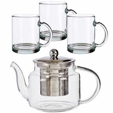 Glazen theepot met filter/infuser van 500 ml met 6x stuks theeglazen van 285 ml