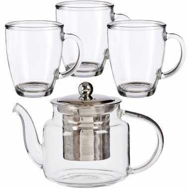 Glazen theepot met filter/infuser van 500 ml met 6x stuks theeglazen van 320 ml