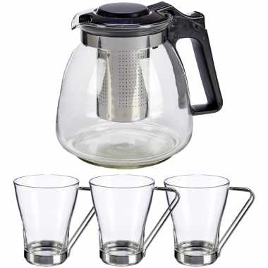 Glazen theepot met filter/infuser van 900 ml met 3x stuks theeglazen van 240 ml