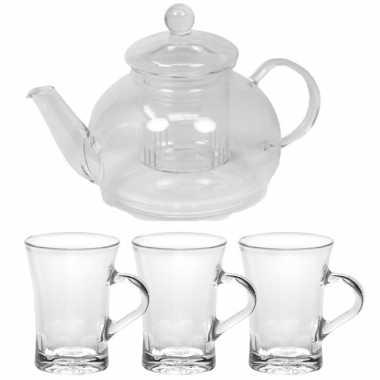 Glazen theepot met filter/infuser van 900 ml met 6x stuks theeglazen van 170 ml
