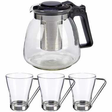 Glazen theepot met filter/infuser van 900 ml met 6x stuks theeglazen van 240 ml