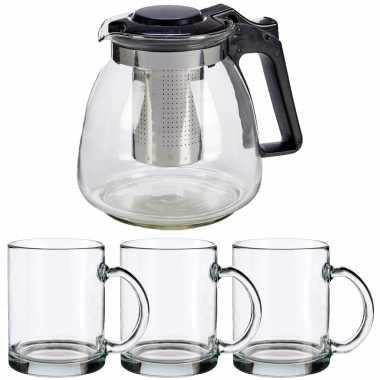 Glazen theepot met filter/infuser van 900 ml met 6x stuks theeglazen van 285 ml