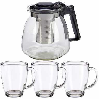 Glazen theepot met filter/infuser van 900 ml met 6x stuks theeglazen van 320 ml