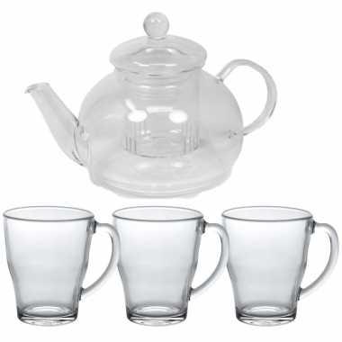 Glazen theepot met filter/infuser van 900 ml met 6x stuks theeglazen van 350 ml