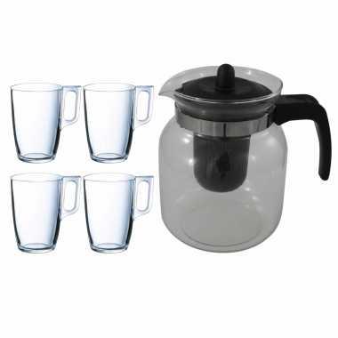 Glazen theepot zwart met filter van 1,5 liter met 10x stuks theeglazen arcoroc van 320 ml