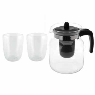 Glazen theepot zwart met filter van 1,5 liter met 2x stuks dubbelwandige theeglazen van 300 ml