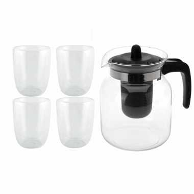 Glazen theepot zwart met filter van 1,5 liter met 4x stuks dubbelwandige theeglazen van 300 ml