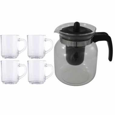 Glazen theepot zwart met filter van 1,5 liter met 6x stuks theeglazen kopenhagen van 250 ml