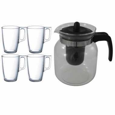 Glazen theepot zwart met filter van 1,5 liter met 6x stuks theeglazen malmo van 320 ml