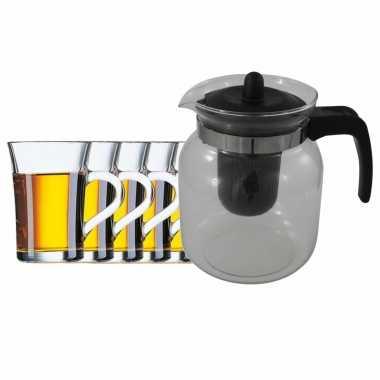 Glazen theepot zwart met filter van 1,5 liter met 6x stuks theeglazen stockholm van 230 ml