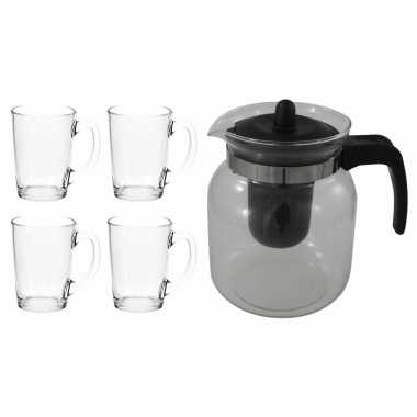 Glazen theepot zwart met filter van 1,5 liter met 8x stuks theeglazen luminarc van 320 ml