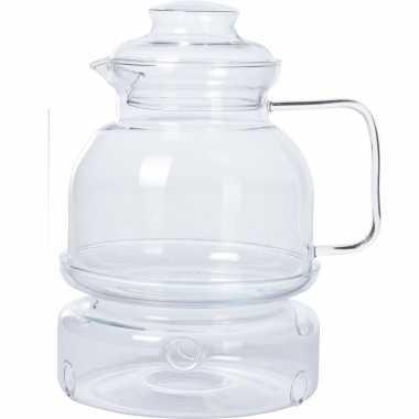 Glazen transparante theepot 1,5 liter met rechaud/warmhoudplaatje