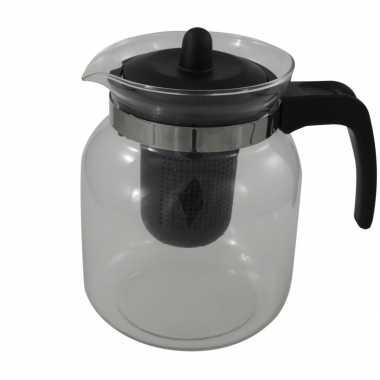 Glazen transparante theepot 1,5 liter met zwart filter