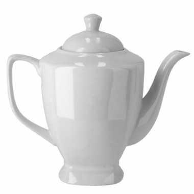 Koffiepot/theepot wit porselein 20 cm