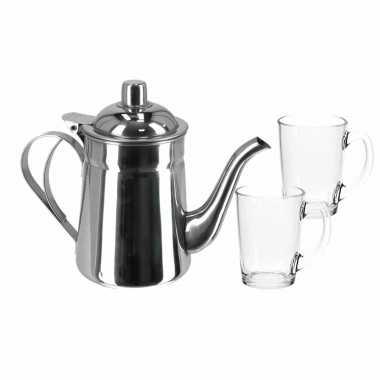 Rvs theepot zilver van 1 liter met 8x stuks theeglazen luminarc van 320 ml