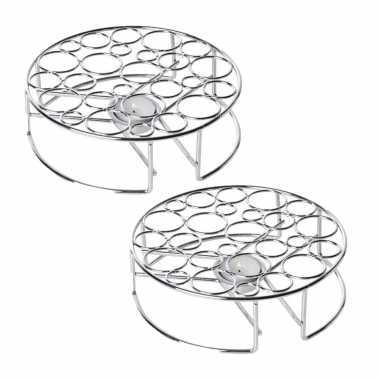 Set van 2x stuks rechaud warmhouder/warmhoudplaatje chroom voor theepotten/pannen 20 cm
