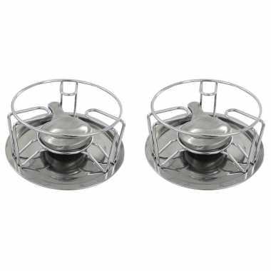 Set van 2x stuks rechaud warmhouder/warmhoudplaatjes chroom voor theepotten/pannen