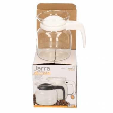 Theepot/koffiepot met wit deksel en handvat 0,65 liter